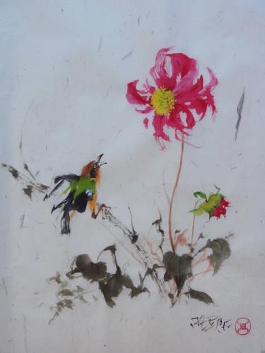 aquarelle,oiseau,fleur,chine,xieyi,abby,animaux,aquarelle chinoise