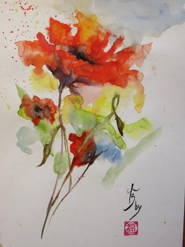 aquarelle,abby,fleurs,coquelicots,rouge