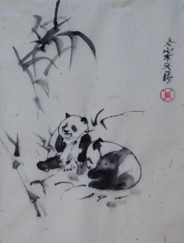aquarelle,pandas,chine,xieyi,abby,animaux,aquarelle chinoise