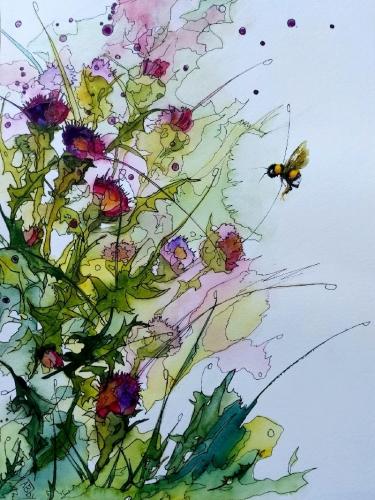 aquarelle,abby,sumi-e,watercolor,fleurs,insectes,oiseaux,art,peinture
