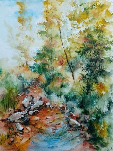 Aquarelle, abby,paysage, rivière, arbres,peinture,watercolor