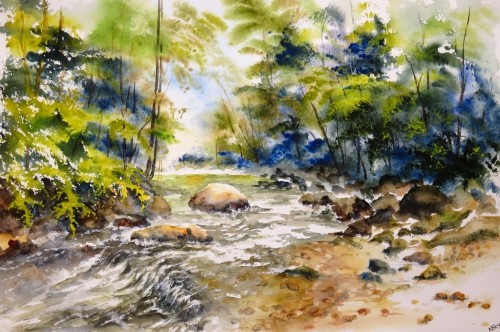 aquarelle,abby,cabane,arbres,forêt,paysage,campagne,sous-bois,rivière,torrent,ruisseau,eau,rochers
