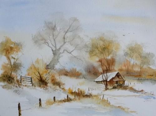 aquarelle,abby,paysage,neige,hiver,arbres,froid,village,maison,cabane