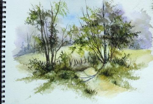 aquarelle,paysage,abby,campagne,arbres,sous-bois,forêt,printemps,automne,été,champ,chemin,ardennes