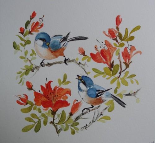 aquarelle,peinture chinoise,oiseaux,animaux,abby,watercolor,nature