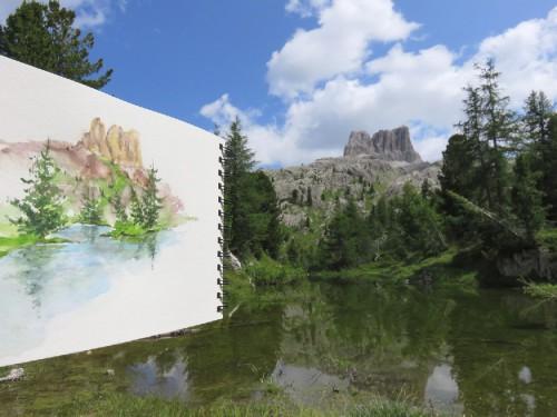 aquarelle,lac,abby,montagne,croquis,dolomites
