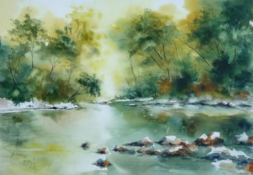 aquarelle,watercolor,rivière,paysage,ardèche