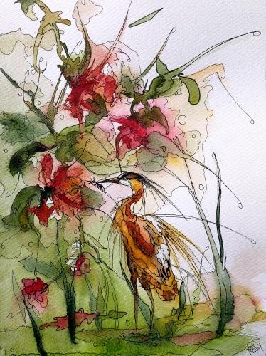 aquarelles,watercolor,fleurs,insectes,oiseaux,sumie,abby,heron