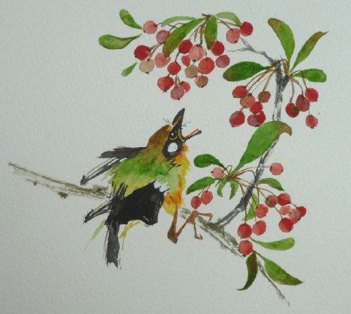 aquarelle,oiseau,animaux,nature,abby,watercolor,peinture chinoise