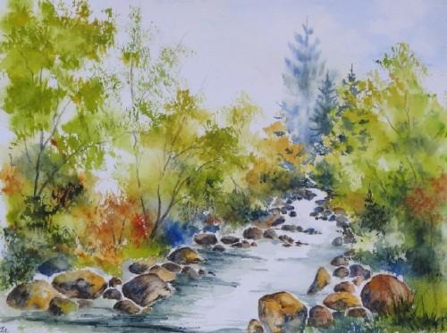 aquarelle,paysage,rivière,torrent,abby,arbres,montagne,dolomites,alpes