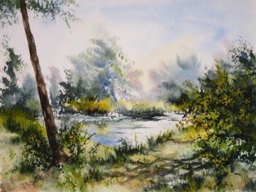 aquarelle,abby,étang,lac,eau,paysage,campagne,chemin,arbres,été,ombres