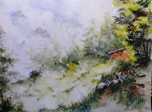 aquarelle,abby,paysage,bois,cabane,forêt,arbres,barrière,campagne,watercolor,rivière
