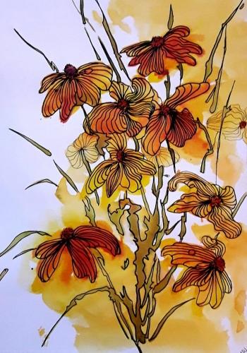 abby,encres,fleurs,auquarelle,encres colorées,colorex