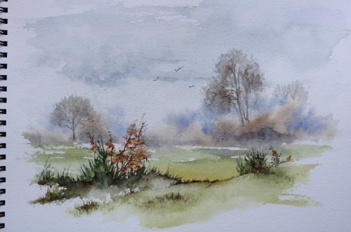 aquarelle,campagne,arbres,hiver,abby,paysage,champ,froid
