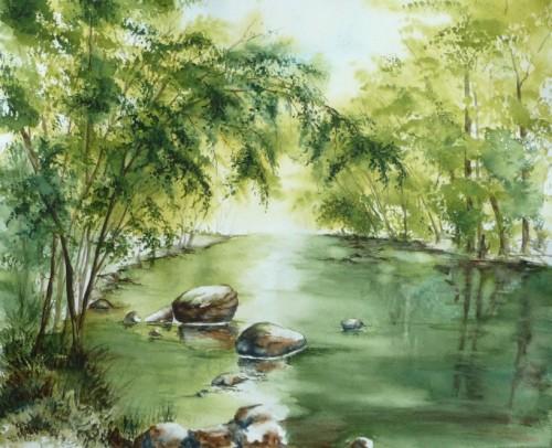 aquarelle,rivière,paysage,reflets,arbres