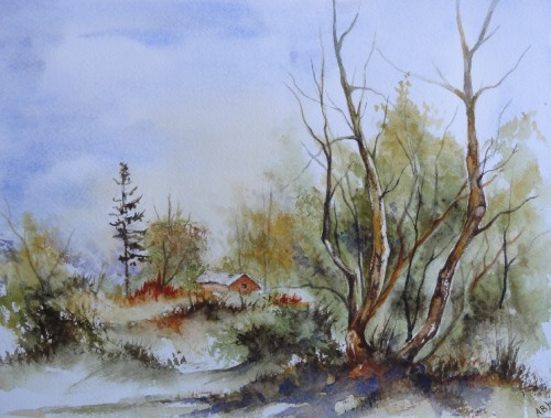 aquarelle,abby,cabane,arbres,forêt,paysage,campagne,sous-bois,cabane