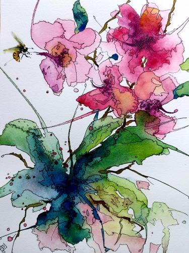 Aquarelle, abby,fleurs,insectes,peinture,watercolor