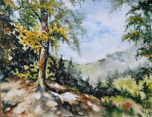 Aquarelle, watercolor, abby,paysage, peinture, art,campagne, arbres,reflets,lac,étang