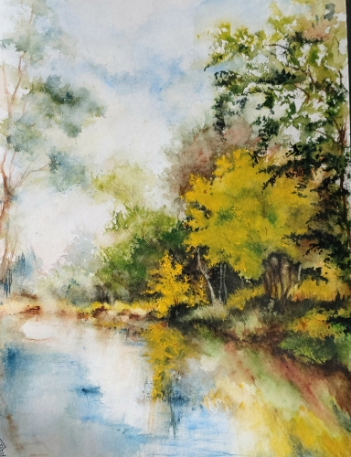 Aquarelle, abby, watercolor, paysage, arbres,trees,lac,peinture, art