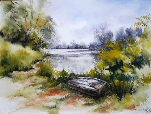 aquarelle,abby,paysage,lac,rivière,eau,barque,reflets,chemin
