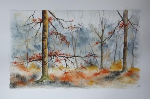 aquarelle,paysage,abby,arbres,sous-bois,forêt,automne,hiver,ardennes