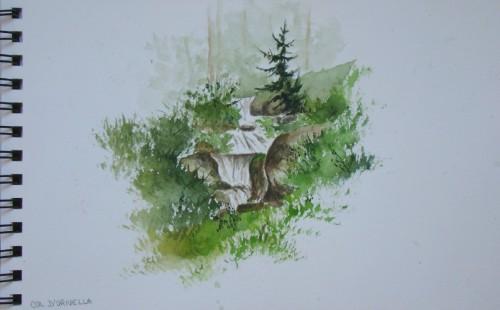 croquis,aquarelle,ruisseau,alpes,dolomites