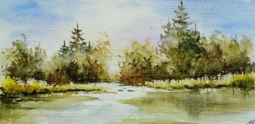 aquarelle,paysage,campagne,abby,arbres,champ,reflets,eau,sapins