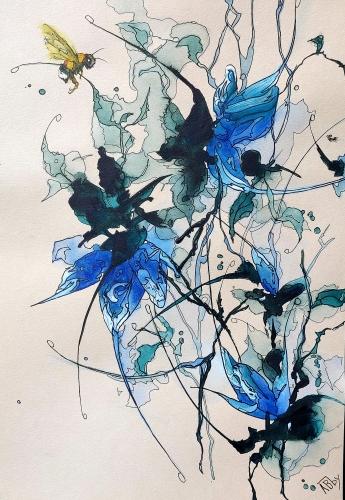 aquarelles,abby,watercolor,fleurs,oiseaux,insectes,sumie