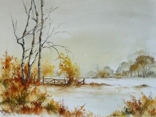 aquarelle, paysage,hiver,neige,arbres,barrière