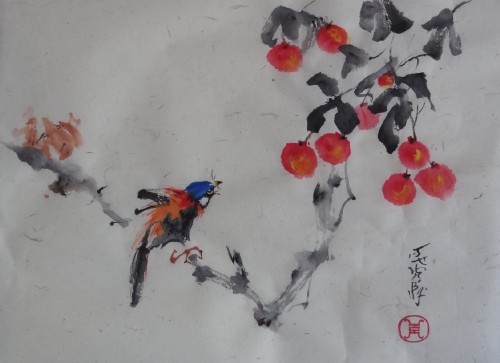 aquarelle,pandas,chine,xieyi,abby,animaux,aquarelle chinoise,oiseau