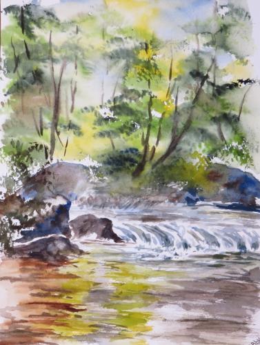 aquarelle,abby,cabane,arbres,forêt,paysage,campagne,sous-bois,rivière,eau,torrent,courant,reflets,rochers