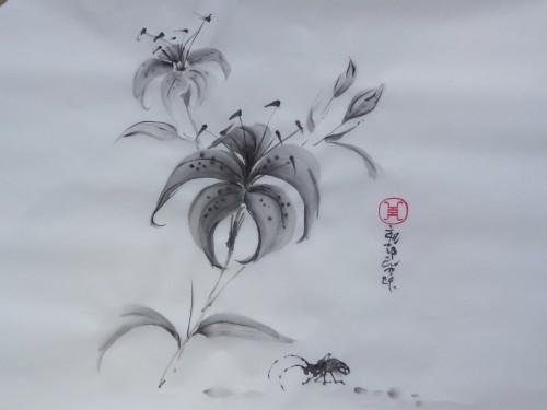 aquarelle,sumie,sumi-e,encre,abby,peinture chinoise,peinture japonaise,oiseaux,fleurs