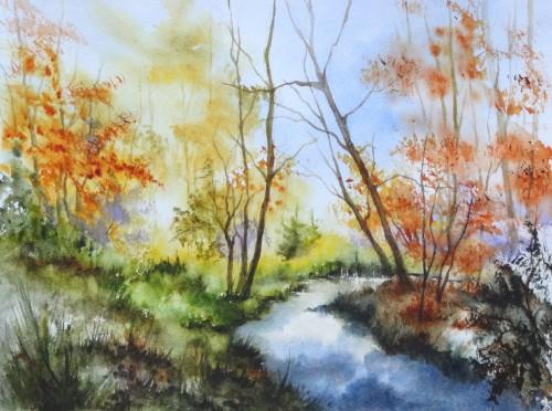 aquarelle,sous-bois,forêt,abres,abby,campagne,rivière,automne