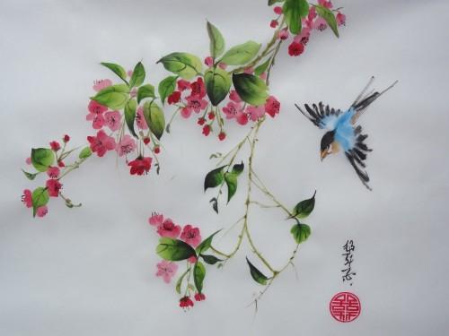 aquarelle,peinture chinoise,sumi-e,sumie,abby,fleur,libéllule,paier de riz